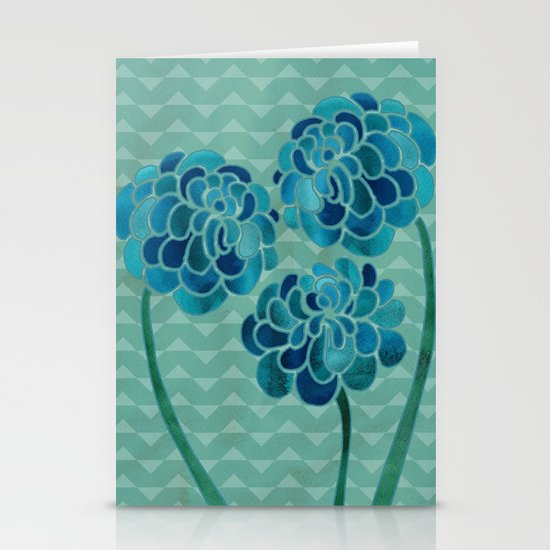 Blue Chrysanthemums Stationery Cards