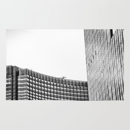 modern style buildings at Las Vegas, USA in black and white Rug