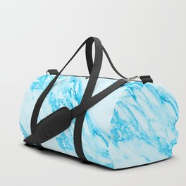 Blue and Cream Marble Pattern Duffle Bag