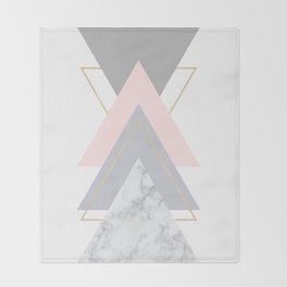 Blush Marble Gray Gold Geometric Pattern Throw Blanket