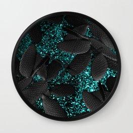 Black Cacti on Aqua Blue Glitter #1 #shiny #decor #art #society6 Wall Clock