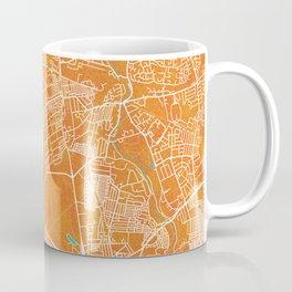 Newcastle upon Tyne, England, Gold, Blue, City, Map Coffee Mug
