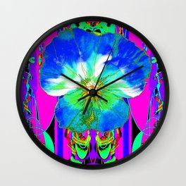 Purple Pansy Garden Fantsy Abstract Wall Clock