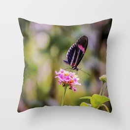 Thirsty Tropical Butterfly Throw Pillow