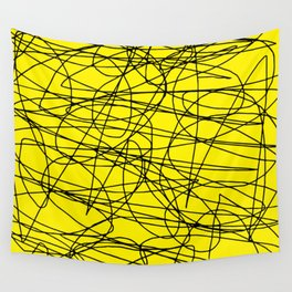 Yellow with black scribbling lines, less is more Wall Tapestry