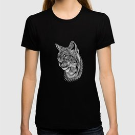 Eurasian lynx - wild cat - ink illustration T-shirt
