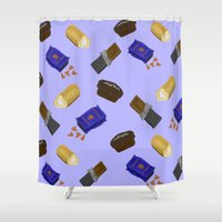 junk food Shower Curtains featuring Junk Food by Danielle Davis