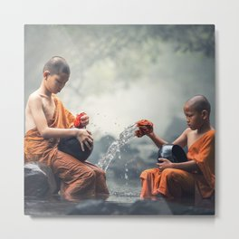 Young Monks Washing Bowls Metal Print