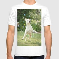 Pitbull and Bubbles  White MEDIUM Mens Fitted Tee