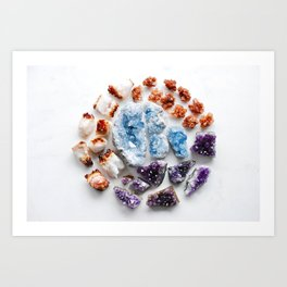 Gemstone Mandala with Citrine Amethyst Celestite Aragonite Art Print