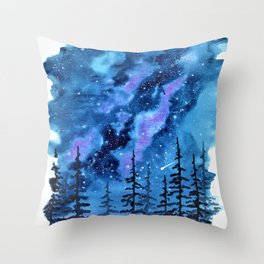 Blue Milky Way landscape, watercolor illustration Throw Pillow