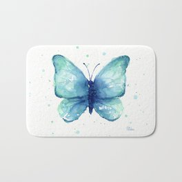 Blue Butterfly Watercolor Bath Mat