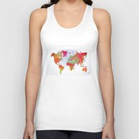 map of the world Tank Tops featuring World Map by Roger Wedegis