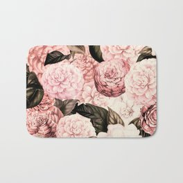 Vintage & Shabby Chic Pink Floral camellia flowers watercolor pattern Bath Mat