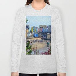 Tenby Harbour.Colour.Reflection. Long Sleeve T-shirt