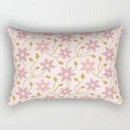 Blush Pink and Gold Floral Rectangular Pillow