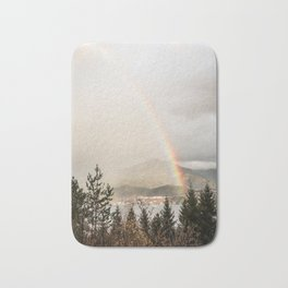 Rainbow In The Mountains | Lake In Norway Photo Art Print  | Travel Photography Bath Mat