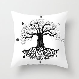 black and white tree of life with moon phases and celtic trinity knot II Throw Pillow