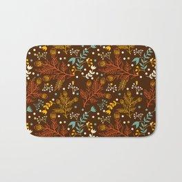 Elegant fall orange yellow teal brown floral polka dots Bath Mat