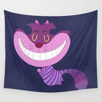 cheshire cat Wall Tapestries featuring Cheshire by Rod Perich