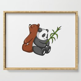 Grizzly Bear And Panda Bear Together Serving Tray