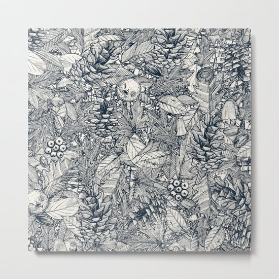 forest floor indigo ivory Metal Print