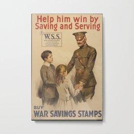 Vintage US War Savings Stamps Metal Print