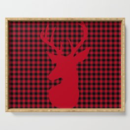 Red Plaid Deer Stag Design Serving Tray