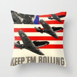 Keep'Em Rolling Throw Pillow