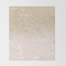 Modern champagne glitter ombre blush pink marble pattern Throw Blanket