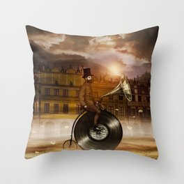 Music Man in the City, by Eric Fan and Viviana González Throw Pillow