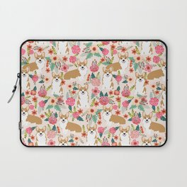 Corgi Florals - vintage corgi and florals gift great for corgi lovers Laptop Sleeve