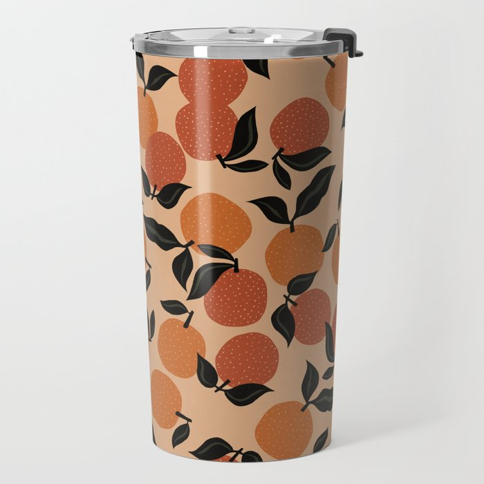 Seamless Citrus Pattern / Oranges Travel Mug