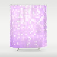 lavender Shower Curtains featuring Lavender Pixel Sparkle by 2sweet4words Designs