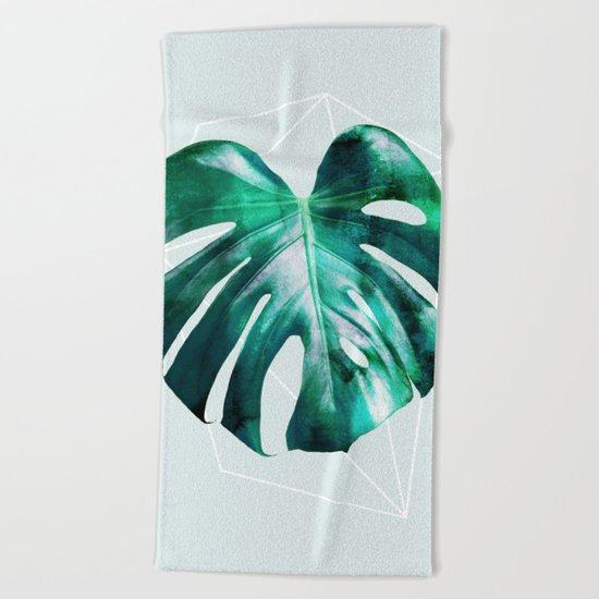 Monstera 2 Geometry Beach Towel