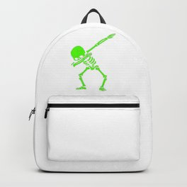 Dabbing Skeleton Green Backpack
