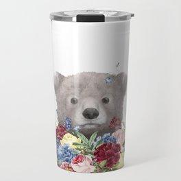 Bear Floral Art, Woodlnd Baby Animal Travel Mug