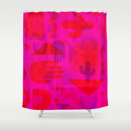 Neon Cutout Print Shower Curtain