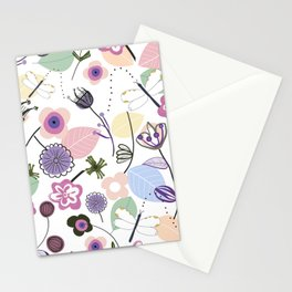 Abstract flowers and dragonfly pastel colored floral spring pattern Stationery Cards
