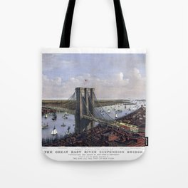 NEW YORK  East River BRIDGE city old map Father Day art print poster Tote Bag