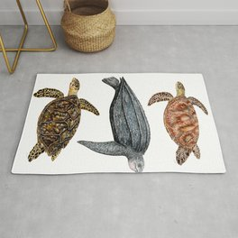 Green, leatherback and hawksbill sea turtles Rug