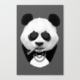 Panda in Black Canvas Print