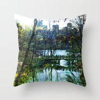 central park Throw Pillows featuring Central Park  by aLovelyNotion