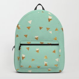 Pastel green ivory faux gold glitter abstract triangles Backpack