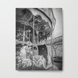 Old Black and White Photograph of a Carousel in Montmartre, Paris Metal Print