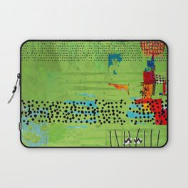 Red and Green Abstract Art Collage Laptop Sleeve