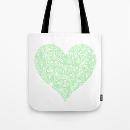 Floral Heart Design in Green Tote Bag
