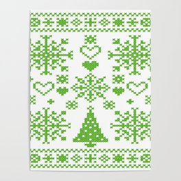 Christmas Cross Stitch Embroidery Sampler Green And White Poster