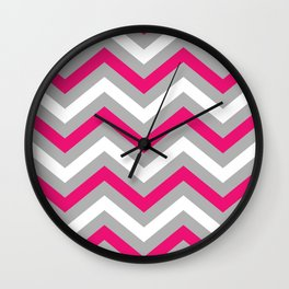 Pink and Grey Chevron  Wall Clock