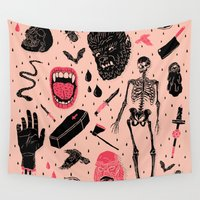 demon Wall Tapestries featuring Whole Lotta Horror by Josh Ln